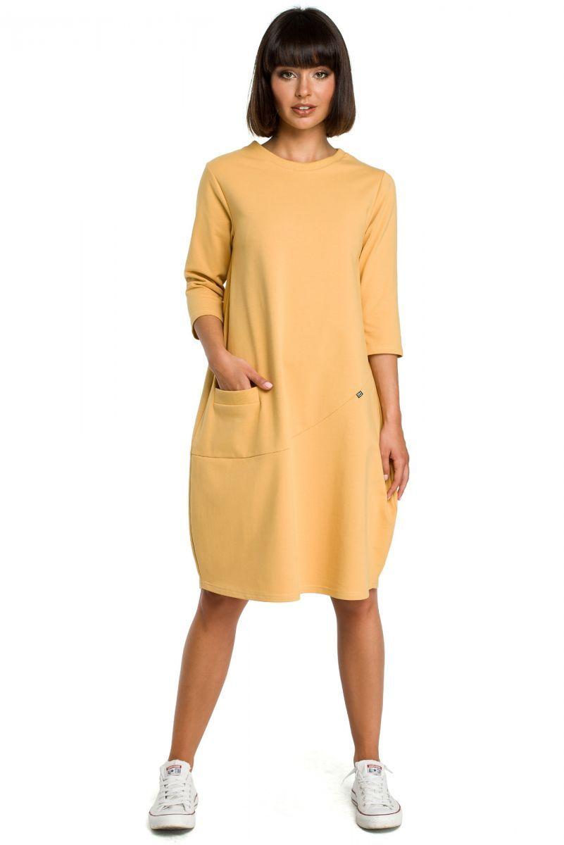 564db694be B083 Sukienka bombka z kieszenią żółta - Sukienki - Odzież - ANP ...